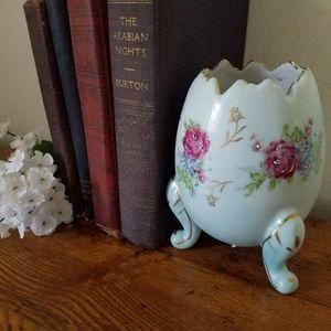 Napco Ceramic Egg Footed Planter Blue Vase Roses